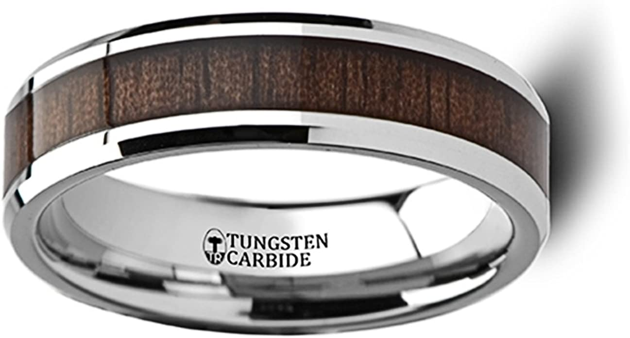 Lifetime Size Exchange 10mm Available Flat Real Mother of Pearl Tungsten Carbide Ring with Polished Beveled Edges 4mm