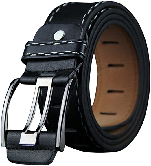 Men/'s Casual Black Dress Leather Belt w// Buckle New
