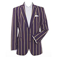 Samuel Windsor Men's Cotton Blend Striped Summer Boating Blazer Jacket in Light Blue Stripe, Navy Blue Stripe, Purple Stripe and Red Green and Blue Stripe
