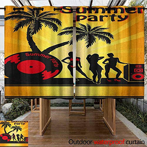 (AndyTours Thermal Insulated Blackout Curtains,Beach,Summer Party Illustration with Sexy Girl Silhouettes Vinyl Record and Speaker Trees,Insulated with Grommet Curtains for Bedroom,K183C160 Multicolor)