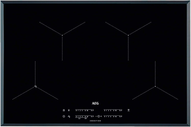 AEG IAE84431FB Placa inducción, Biselada, Extraplana de 4 zonas, Asistente de cocción, Función Pausa, Calentamiento rápido, Conexión con campana compatible,Control táctil deslizante, Negro, 80 cm