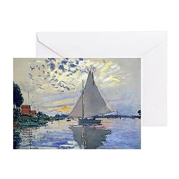 amazon com cafepress claude monet sailboat greeting card note