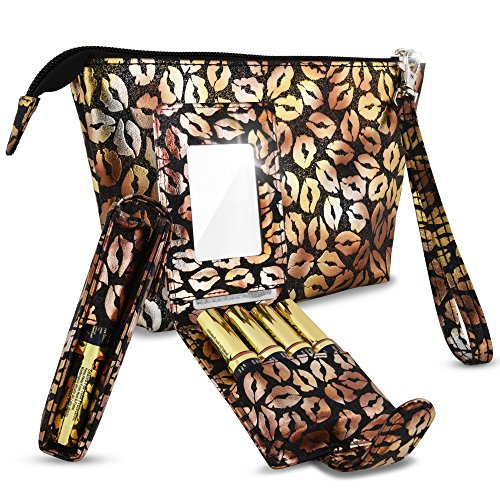 LipSense Case Combo Set - Includes Purse Holder with Mirror Fits 4 Tubes of LipSense Kylie Cosmetics Younique Lip Gloss + Tester Bag Fits 16 Tubes (Black Glitter Gold Lips)