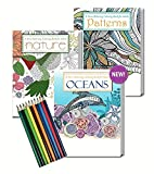 Kyпить Gift Pack of 3 Adult Coloring Books and Colored Pencils Set - Oceans, Nature and Patterns на Amazon.com