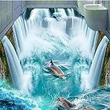 Ohcde Dheark Custom 3D Self-Adhesive Floor Mural Wallpaper Dolphin Waterfall Waterproof ,350cmX245cm(137.8 By 96.5 In )