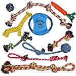 Pacific Pups Products supporting pacificpuprescue.com dog rope toys for aggressive chewers-set of 11 nearly indestructible dog toys-bonus giraffe rope toys-benefits non profit dog rescue. 11