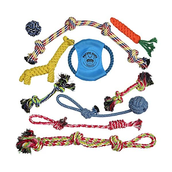 Pacific Pups Products supporting pacificpuprescue.com dog rope toys for aggressive chewers-set of 11 nearly indestructible dog toys-bonus giraffe rope toys-benefits non profit dog rescue. 2