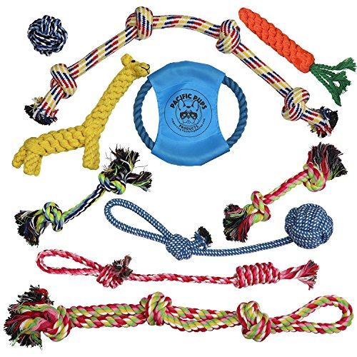 Pacific Pups Products supporting pacificpuprescue.com Dog Rope Toys for Aggressive CHEWERS – Set of 11 Nearly Indestructible Dog Toys – Bonus Giraffe Rope Toy - Benefits NONPROFIT Dog Rescue