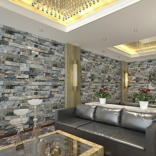 WitHome Fake Stone Wallpaper Waterproof Removable Textured Wallpaper Roll Brick Blocks Home Room Vintage Stone Brick Stickers 3D Vinyl Home Decoration 208 inches x 328 feetVintage Gray