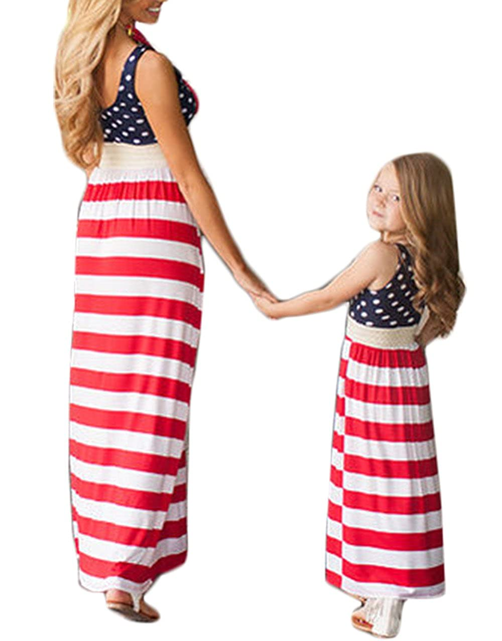 40bb4cecc Mommy and Me Summer Beach Party Maxi Dress Family Look ClothesPackage  Including:1*Family Matching Fashion Stripe Stitching Beach Boho  SundressClothing ...