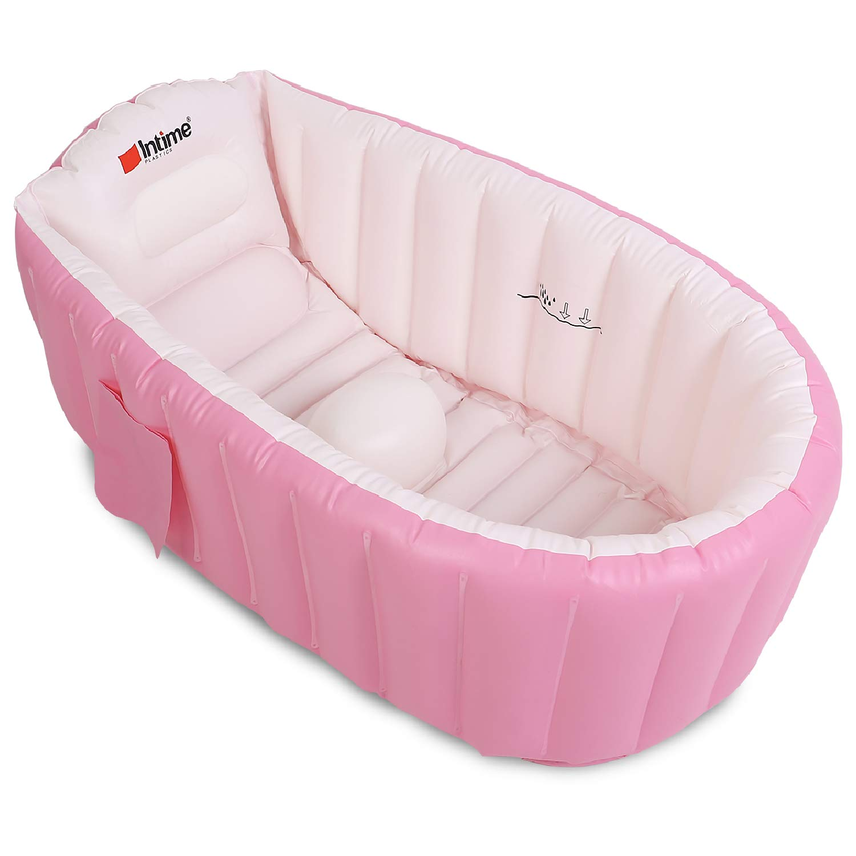 SpringBuds Baby Inflatable Bathtub Portable Infant Toddler Non Slip Bathing Tub Travel Bathtub Mini Air Swimming Pool Kids Thick Foldable Shower Basin Red