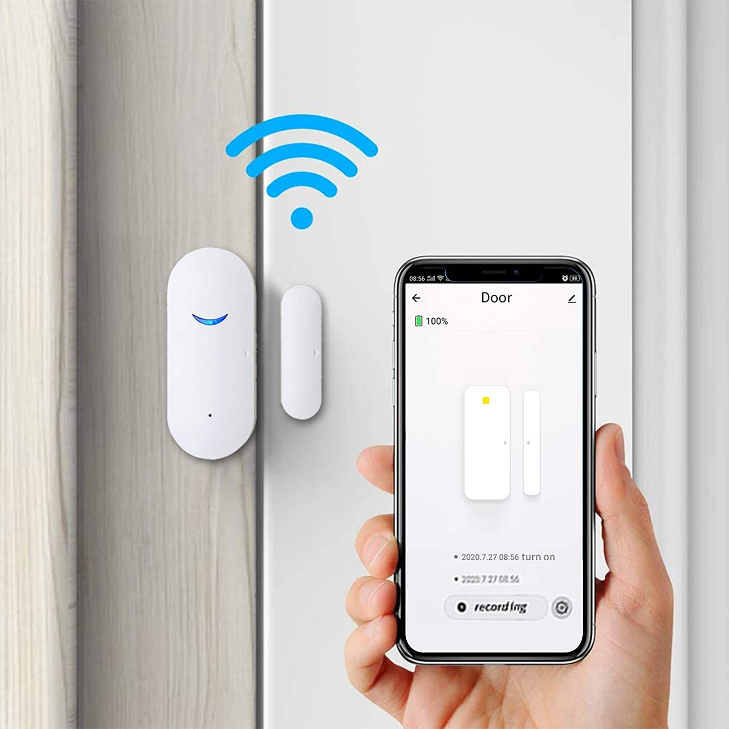 3 Pack WiFi Door Sensor Detector, Smart Wireless Window Sensor Real-time Alarm Compatible with Alexa Google Assistant, Home Security Door Open Contact Sensor for Bussiness Burglar Alert