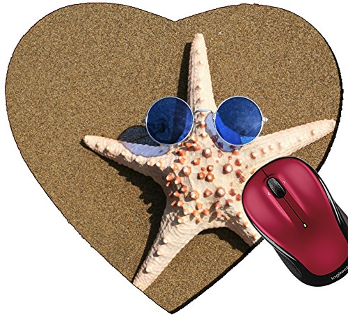 Liili Mousepad Heart Shaped Mouse Pads/Mat IMAGE ID: 397188 Starfish wearing 1960s - Sunglasses Save