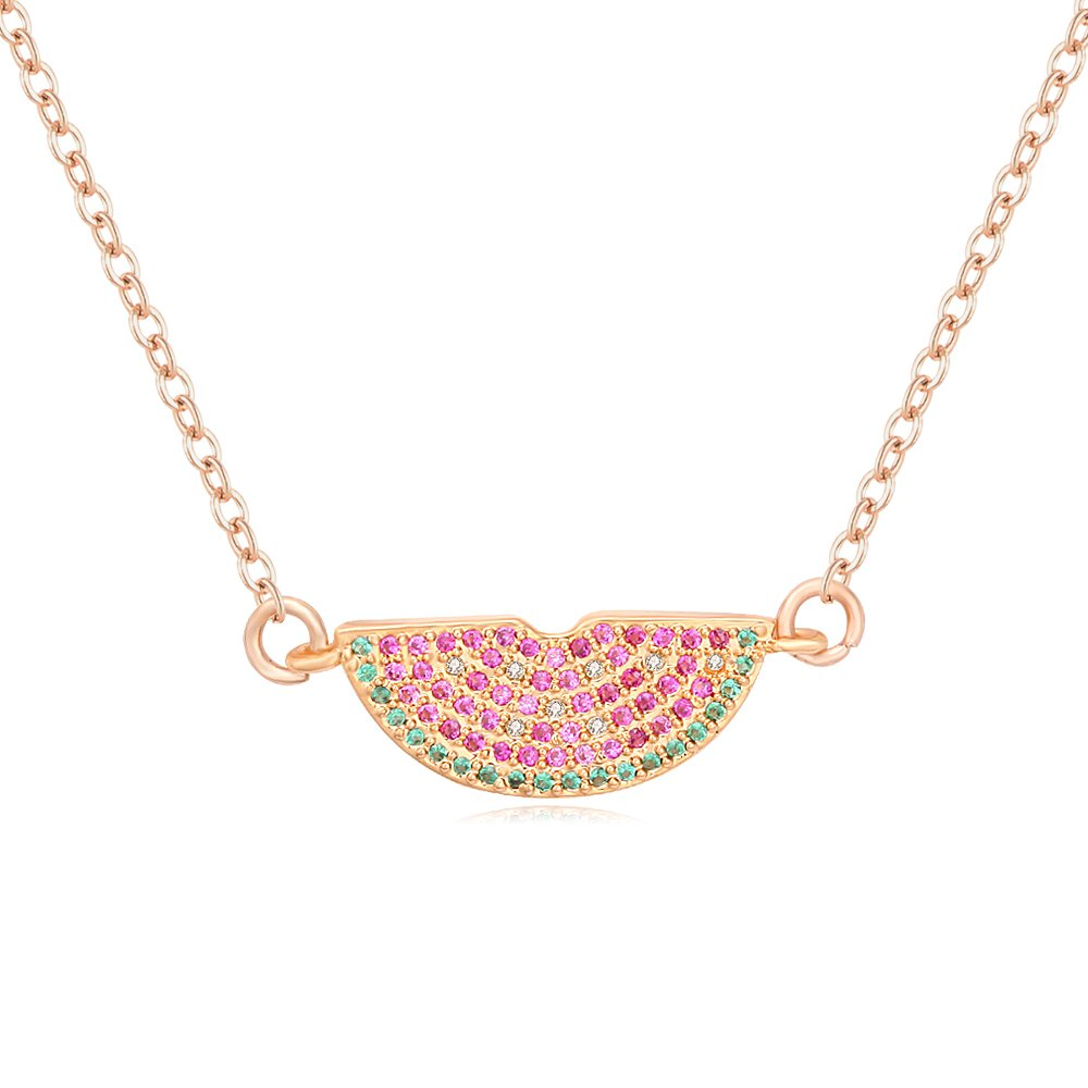 CHUYUN 3 Color Summer Autumn Delicious Fruit Design Colorful Cubic Zirconia Watermelon Pendant Fashion Necklace Jewelry (Gold)