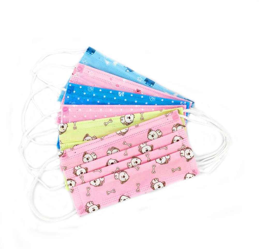 Ewandastore 3 Layer Colorful Print Non-woven Fabric Disposable Surgical Dust Filter Ear Loop Mouth Cover Beauty Nail Salon Face Mask 30 Pcs