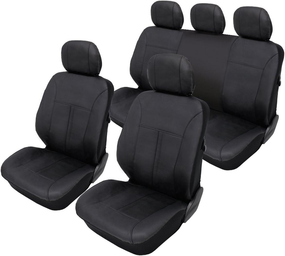 ECD Germany Funda de asiento de coche Cuero sintético Negro Funda de asiento universal