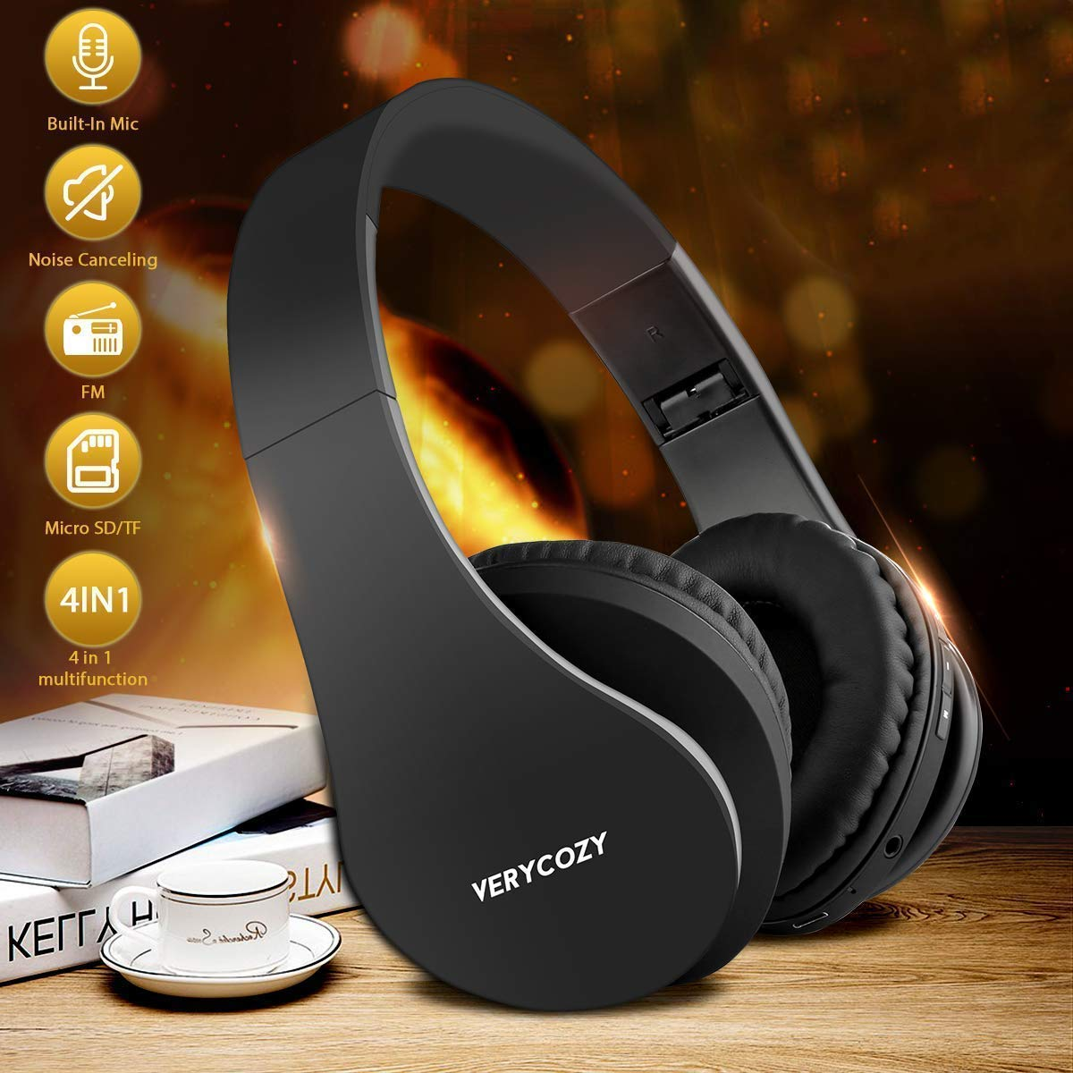 Over-Ear Headphones Bluetooth Headphones Hi-Fi Stereo Wireless Headset Over Ear Headphones Noise Cancelling Foldable Earphones
