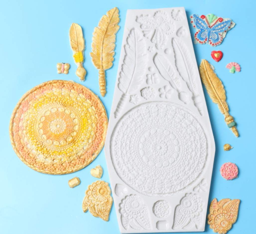 SONSMER Dream Catcher Cake Decoration 3D Big Feathers Silicone Mold Fondant Mold DIY Cake Decorating Tool Candy Chocolate Mold