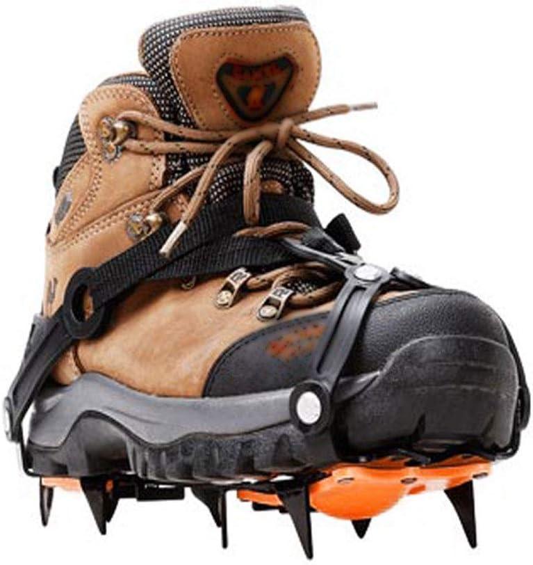 GreatWall 10 Crampons antid/érapants Chaussures de Neige Couvrent des Pointes durables poign/ées Crampons Crampons Noir s
