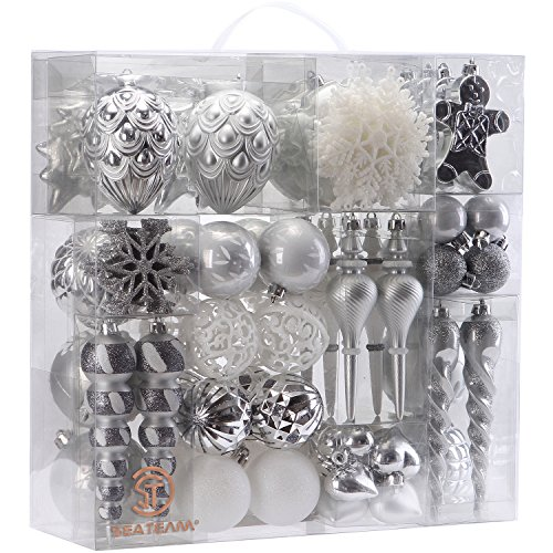 Sea Team 78 Pieces of Assorted Shatterproof Christmas Ball Ornaments Set Seasonal Decorative Hanging Ornament Set with Reusable Hand-held Gift Package for Holiday Xmas Tree Decorations, Silver