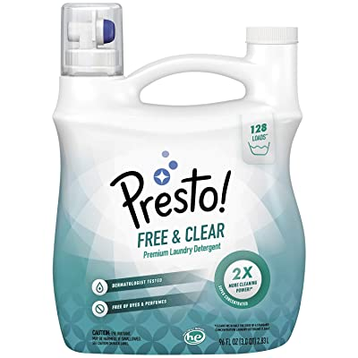 Brand - Presto! Concentrated Liquid Laundry Detergent, Free & Clear, Hypoallergenic, Free of Perfumes Clear of Dyes, 128 Loads, 96 Fl Oz: Health & Personal Care
