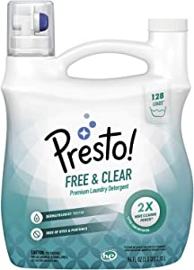 Amazon Brand - Presto! Concentrated Liquid Laundry Detergent, Free & Clear, 128 Loads, 96 Fl Oz