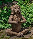 Campania International A-544-BR Yoga Dog Statue, Brown Stone Finish For Sale
