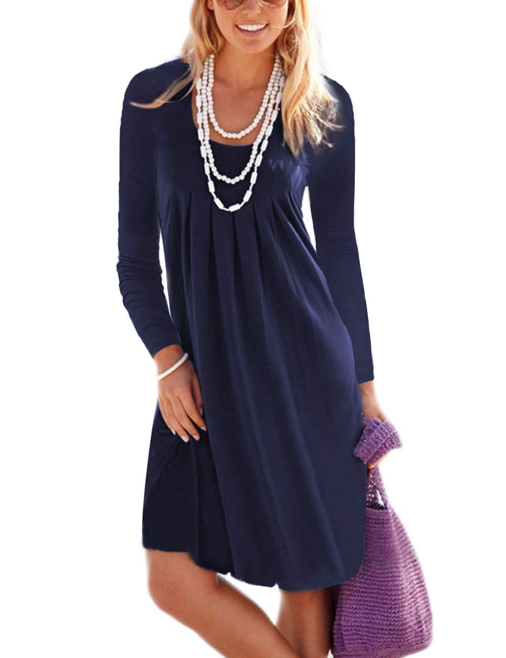 MIDOSOO Womens Casual Long Sleeve Knee Length Vest Pleated Sun Dresses Navy Blue 2XL