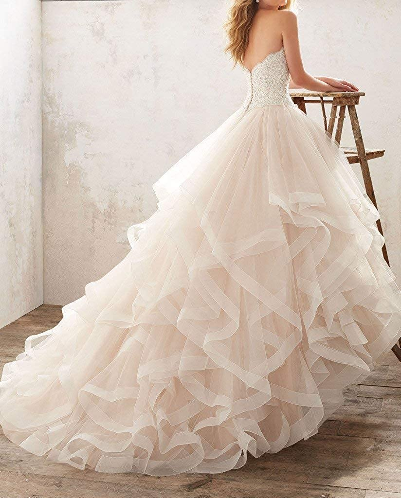 Evondress Womens Strapless Wedding Dress Beaded Lace Bridal Gowns with Train E59
