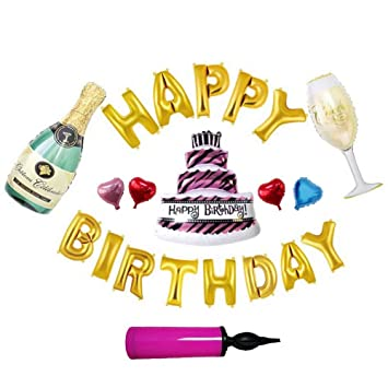 Champagne Set Party Supply Balloons Birthday Decorations 20 Pack With Bottle Goblet Cake