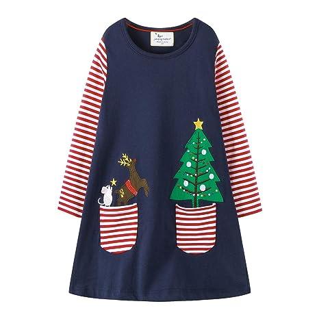 Niñas Vestido de Navidad Bebé Camiseta de Manga larga Falda Fiesta ...