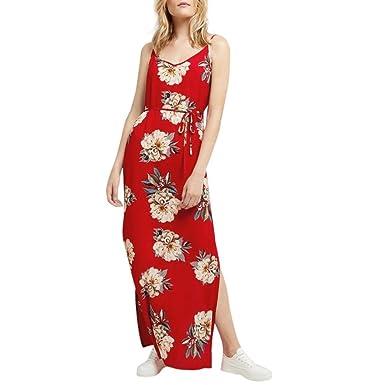 3b0372a0a15 Summer Dresses DIKEWANG Chic Ladies Sleeveless Printing Summer V-Neck Beach  Casual Dress Floral Dress Maxi Dresses for Women Summer  Amazon.co.uk   Clothing