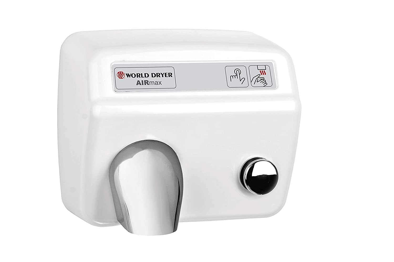 110-120V Cast Iron White World Dryer XM5-974 AirMax High Speed and Heavy Duty Hand Dryers Automatic