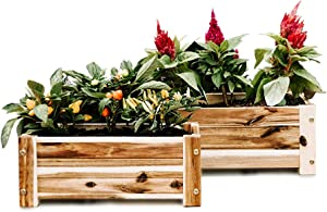 Wooden Flower Boxes, 2 Pack Set, 17 and 16 Inch Window Planters for Indoor, Outdoor, Deck or Garden