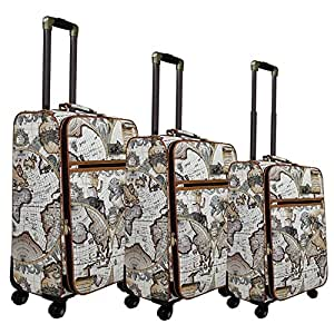 3 Piece Around The World Globe Themed Spinner Lightweight Expandable Luggage Suitcases, Graphic Rustic Earth Map Patterned, Softside, Fashionable, Multi Compartment, Handle Travel Cases, Grey, Brown