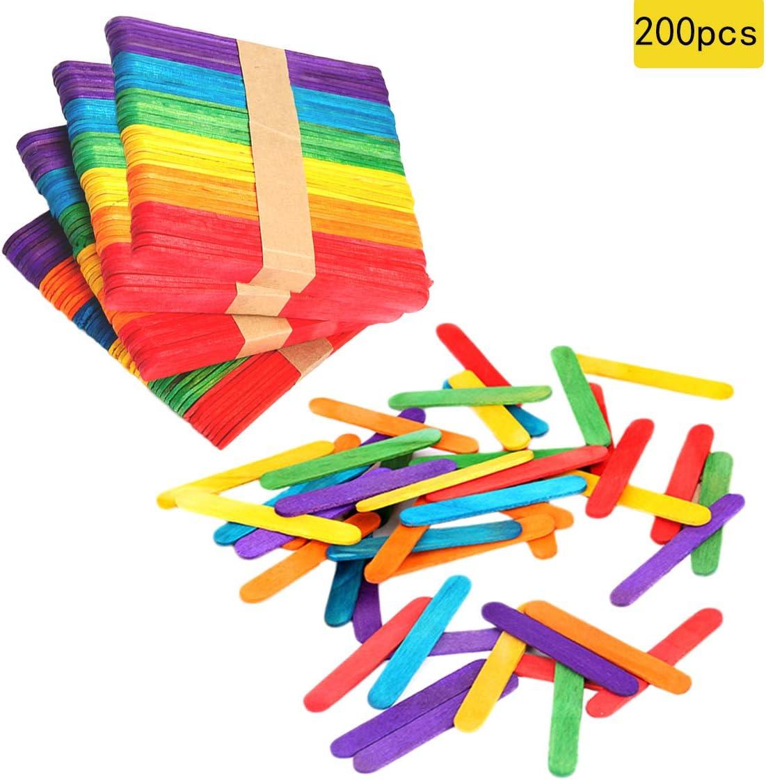 "200 PCS Colorful Craft Sticks Natural Wooden 4-1/2"" Length Treat Sticks Great for DIY Craft Creative Designs"