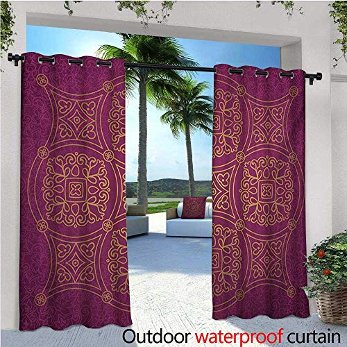 Purple Mandala Patio Curtains Persian Ornamental Lace Pattern Traditonal Authentic Arabic Folkloric Boho Design Outdoor Curtain for Patio,Outdoor Patio Curtains W84 x L84 Gold