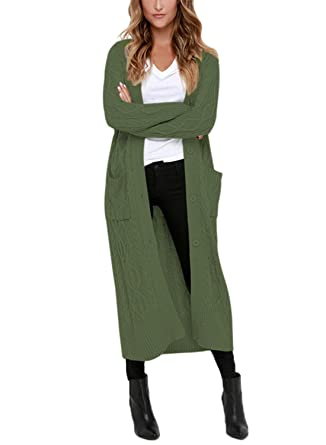 ba0566d4b8 Dearlovers Womens Open Front Casual Long Maxi Cardigans Knit Sweater  Outerwear Small Size Green