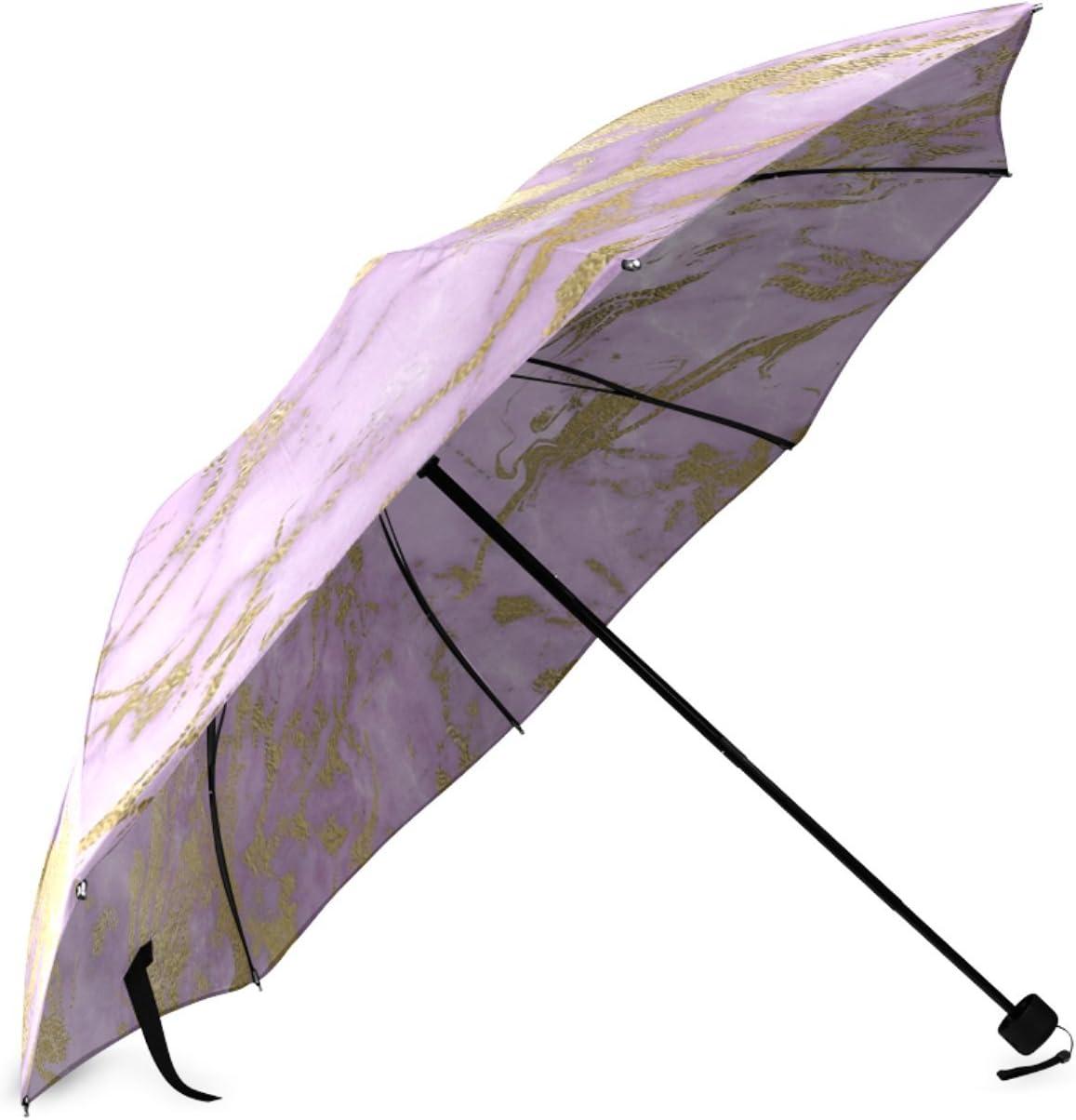 Personalized Lavender Gold Marble Foldable Umbrella Rain Compact Travel Umbrella