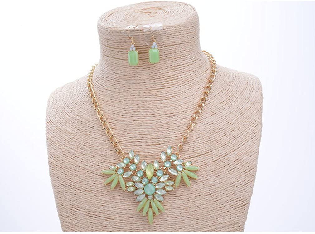 SunIfSnow Women High-Grade Fashion Pink Green Flower Resin Eardrop Necklace Two Piece