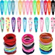 Anezus 100 Pcs Barrettes Snap Hair Clips with 100 Pcs Elastics Hair Ties for Girls Women Hair Accessories