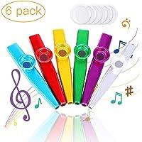 Kazoo, Kazoos Multipack 6 stuks Kazoo metaal en membranen, Kazoo spel muziekinstrument voor kinderen, ukelele, viool…