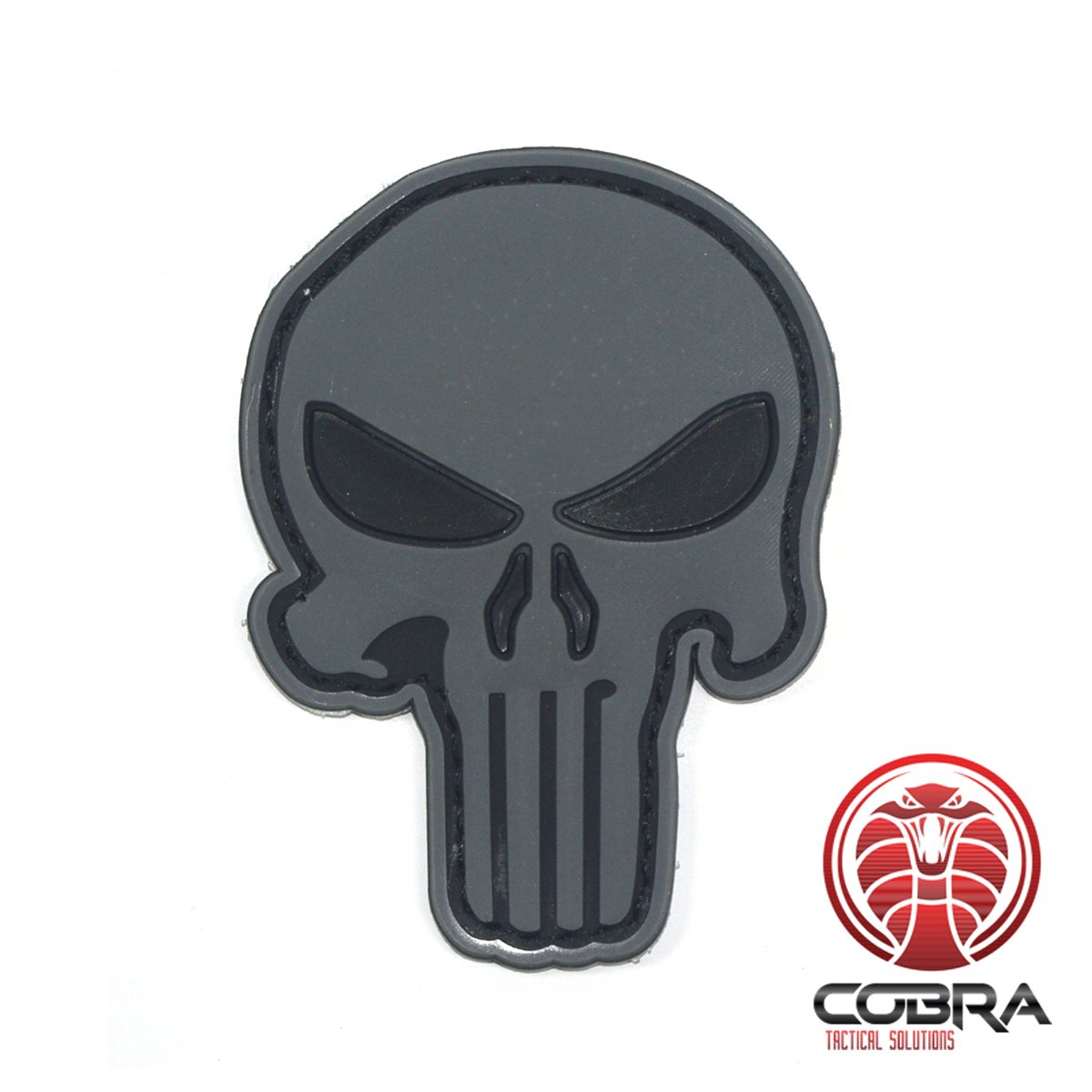 Cobra Tactical Solutions 3D Patch Punisher in PVC Grigio Airsoft Cosplay Toppa