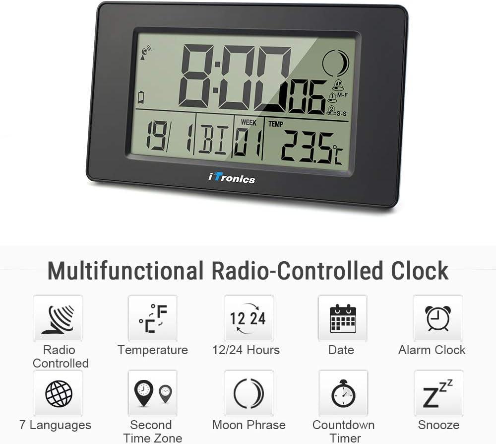 Temp/érature iTronics Horloge Radio-Pilot/ée Num/érique Noir Piles Fournies Alarme//Sommeil Phase Lunaire Grand /Écran LCD avec Compte /à rebours