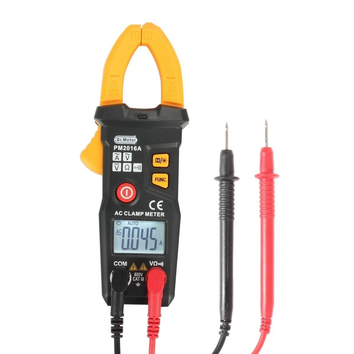 Dr.meter Mini PM2016A pinza multí metro digital con luz de fondo y auto apagado, 6000 cuentas, de color amarillo - Nivel A