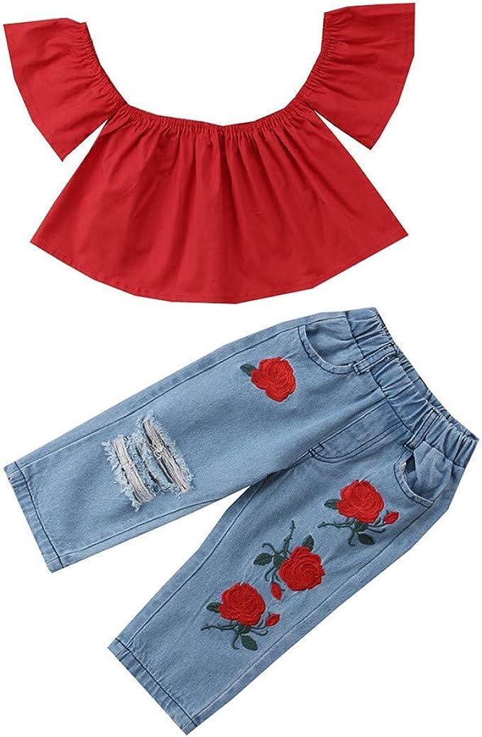 Kinder Baby Mädchen Sommer Kleidung Outfit Set Blumen Langarm Top Jeans Hosen