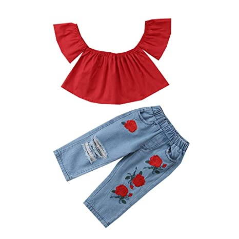 UK 3PCS Kids Baby Girl Summer Clothes Off Shoulder Tops Crop Ripped Pants Outfit