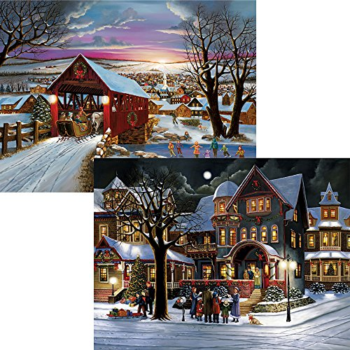 Bits and Pieces - Set of Two (2) 500 Piece Jigsaw Puzzles for Adults - The Joys of Christmas - 500 pc Winter Holiday Jigsaws by Artist H. Hargrove