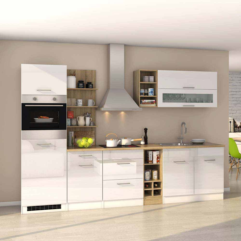 Pharao24 Komplett Küchenblock mit E-Geräten Weiß Hochglanz Eiche Sonoma