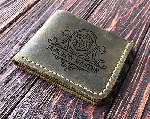 Dungeon Master Wallet, Gift for Him, Personalized Mens Wallet, Gift For Father D&D Leather Wallet Handmade Mens Husband Gift, Boyfriend Gift, Geek Gift Gamer Gift, Fathers Day Gift k44 ()